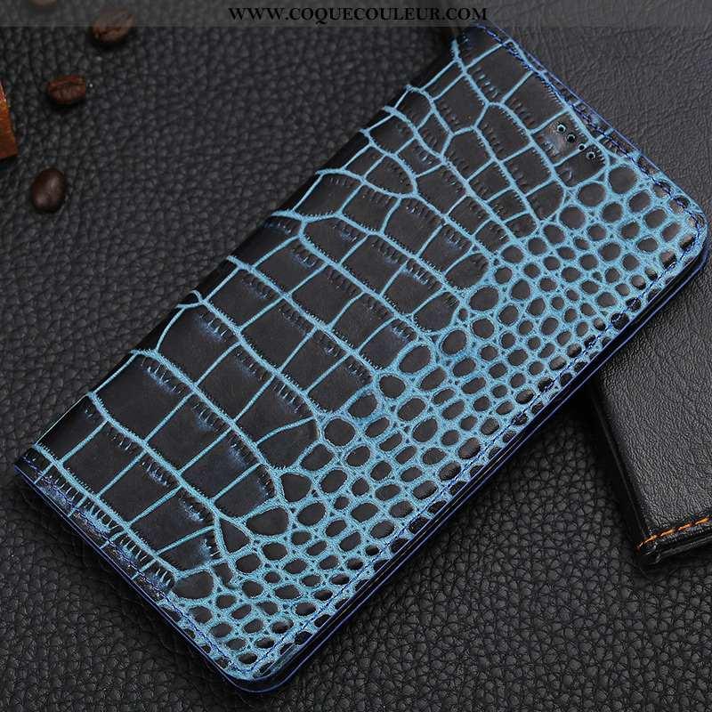 Housse Nokia 3.1 Plus Protection Coque Crocodile, Étui Nokia 3.1 Plus Cuir Véritable Bleu