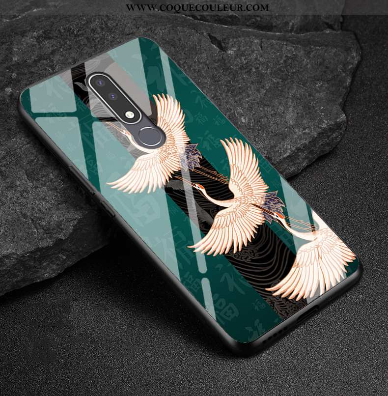 Coque Nokia 3.1 Plus Protection Téléphone Portable Étui, Housse Nokia 3.1 Plus Verre Simple Verte
