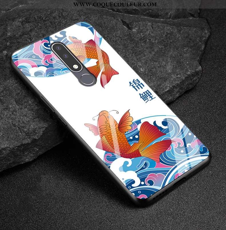 Coque Nokia 3.1 Plus Verre Tout Compris Téléphone Portable, Housse Nokia 3.1 Plus Délavé En Daim Bla