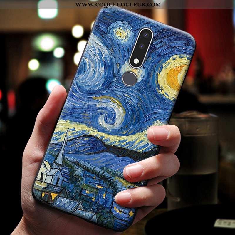 Étui Nokia 3.1 Plus Gaufrage Téléphone Portable Bleu, Coque Nokia 3.1 Plus Dessin Animé Bleu