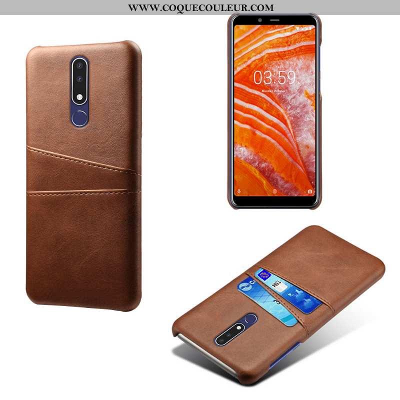 Coque Nokia 3.1 Plus Protection Marron Étui, Housse Nokia 3.1 Plus Téléphone Portable