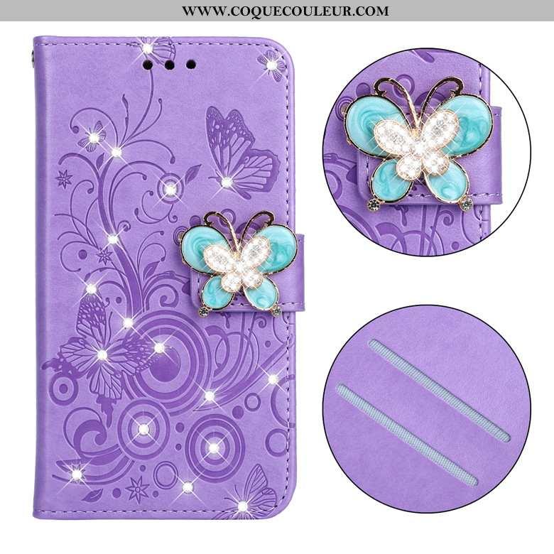 Étui Nokia 3.2 Cuir Téléphone Portable, Coque Nokia 3.2 Fluide Doux Clamshell Violet