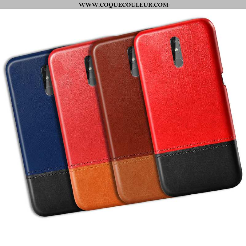 Étui Nokia 3.2 Cuir Difficile Rouge, Coque Nokia 3.2 Modèle Fleurie Rouge