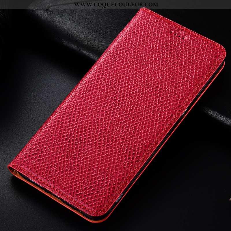 Housse Nokia 4.2 Cuir Véritable Coque Étui, Étui Nokia 4.2 Modèle Fleurie Téléphone Portable Rouge