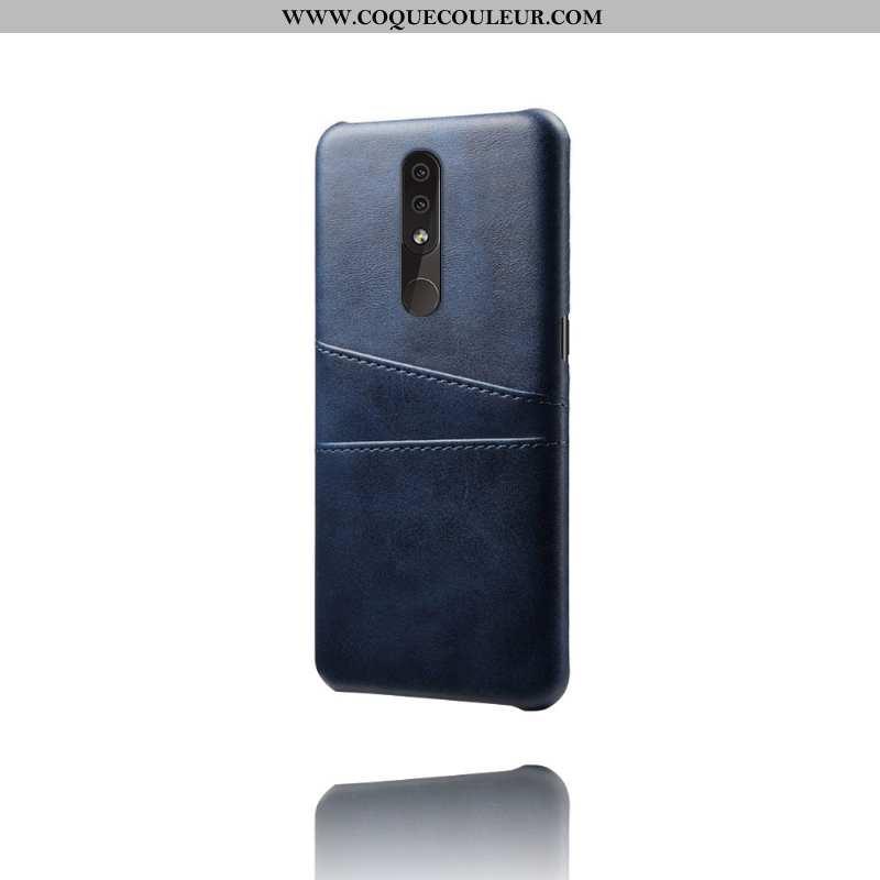 Coque Nokia 4.2 Cuir Carte Incassable, Housse Nokia 4.2 Protection Téléphone Portable Bleu Foncé