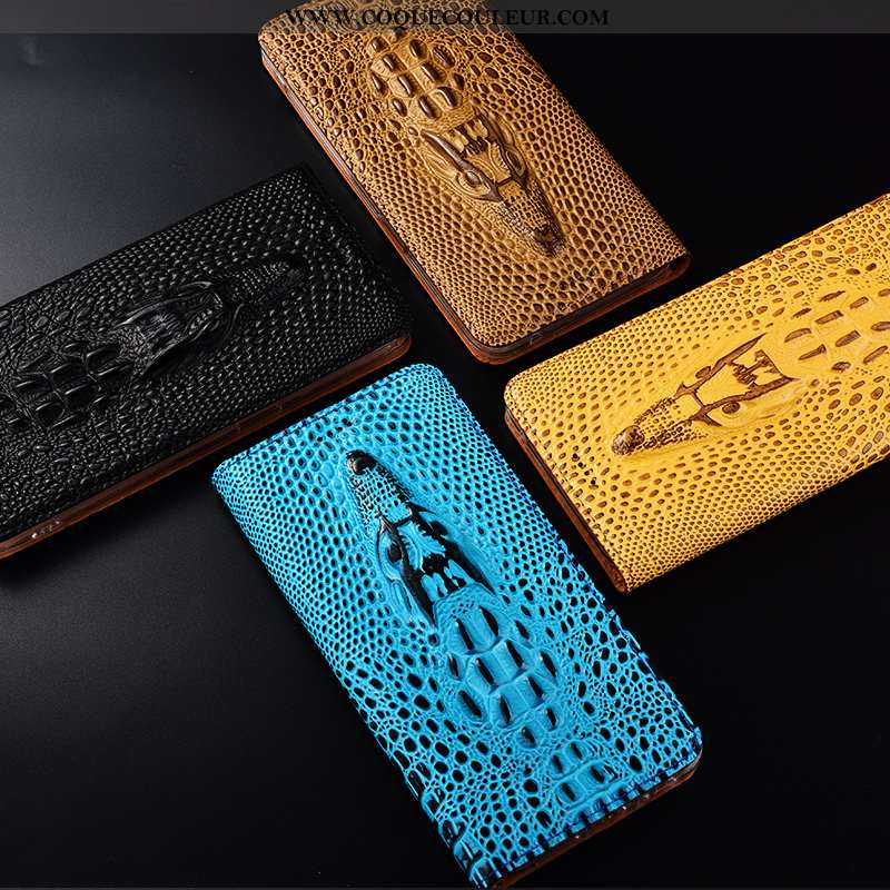 Coque Nokia 4.2 Protection Housse Crocodile, Nokia 4.2 Cuir Véritable Jaune