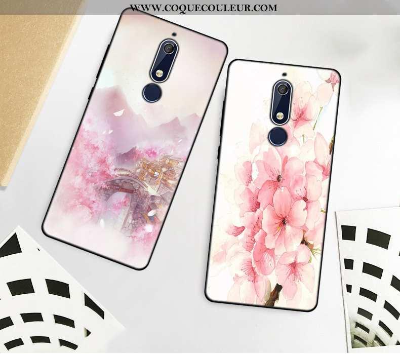 Housse Nokia 5.1 Fluide Doux Simple Art, Étui Nokia 5.1 Silicone Téléphone Portable Rose