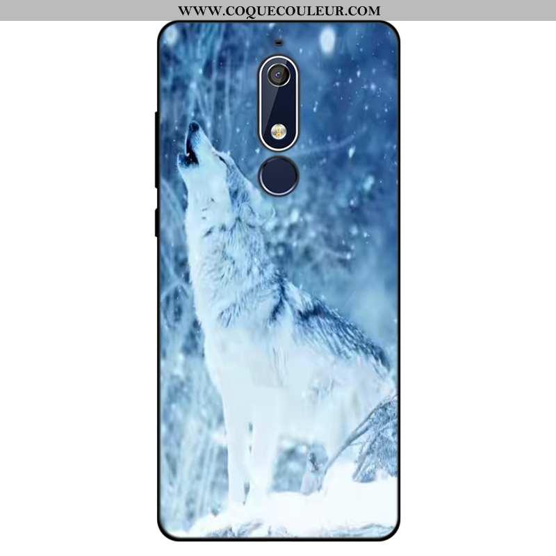 Coque Nokia 5.1 Tendance Silicone, Housse Nokia 5.1 Fluide Doux Tout Compris Bleu