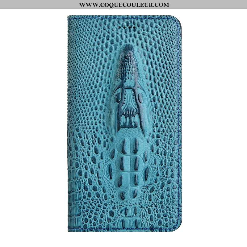 Coque Nokia 5.1 Protection Étui Téléphone Portable, Housse Nokia 5.1 Cuir Véritable Bleu