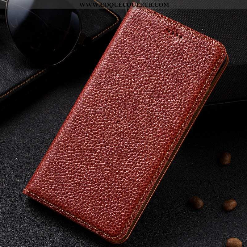 Coque Nokia 5.1 Cuir Véritable Téléphone Portable Étui, Housse Nokia 5.1 Protection Rouge