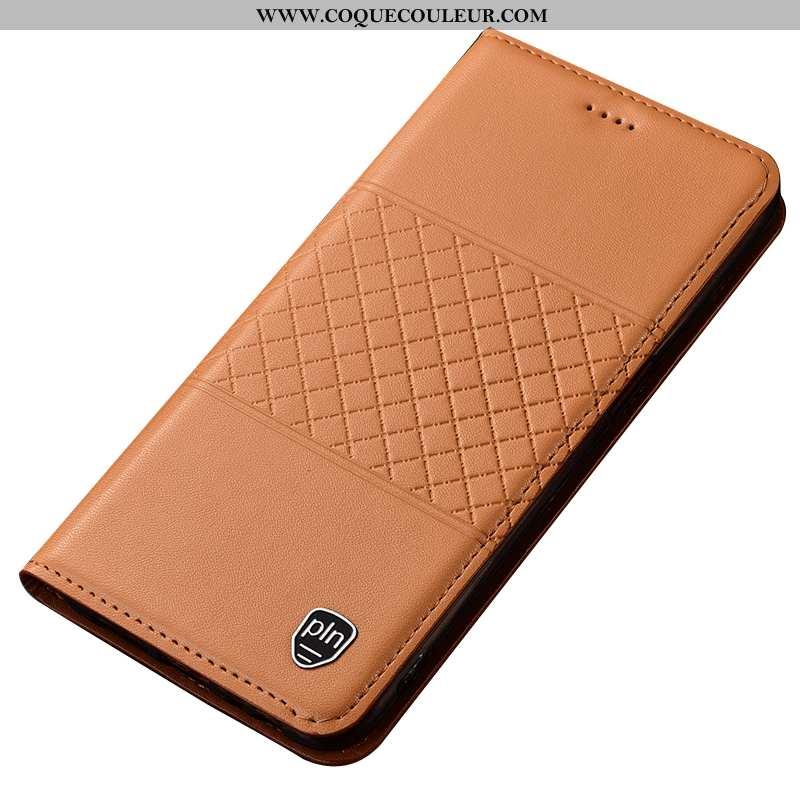 Étui Nokia 5.1 Protection Jaune Coque, Coque Nokia 5.1 Cuir Véritable Téléphone Portable
