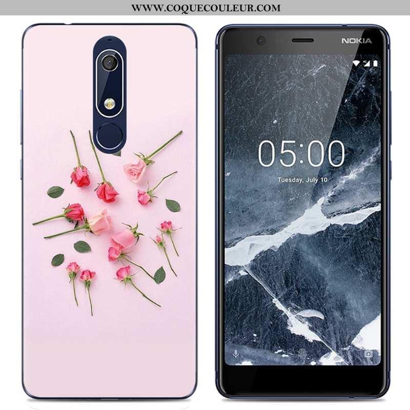 Coque Nokia 5.1 Dessin Animé Rose Fluide Doux, Housse Nokia 5.1 Tendance Transparent