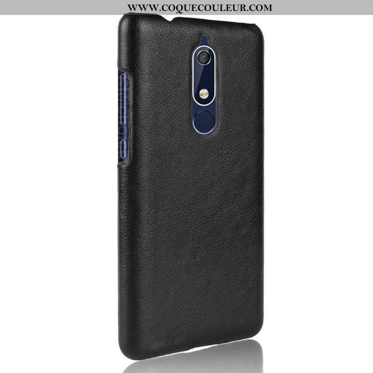 Coque Nokia 5.1 Cuir Difficile Coque, Housse Nokia 5.1 Modèle Fleurie Étui Noir