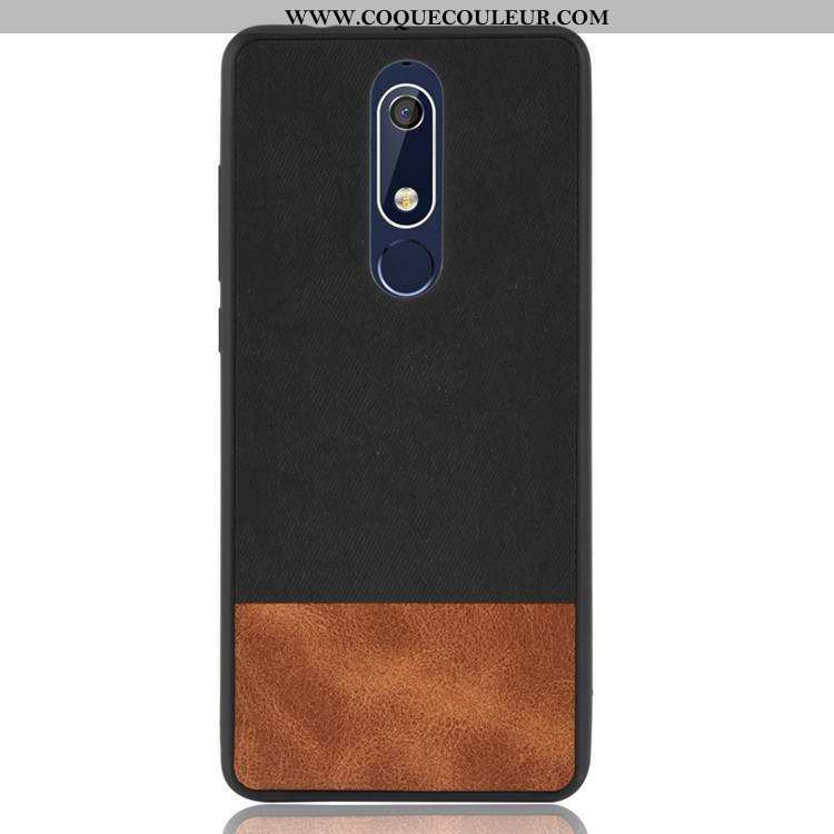 Housse Nokia 5.1 Protection Tout Compris Étui, Étui Nokia 5.1 Délavé En Daim Silicone Noir