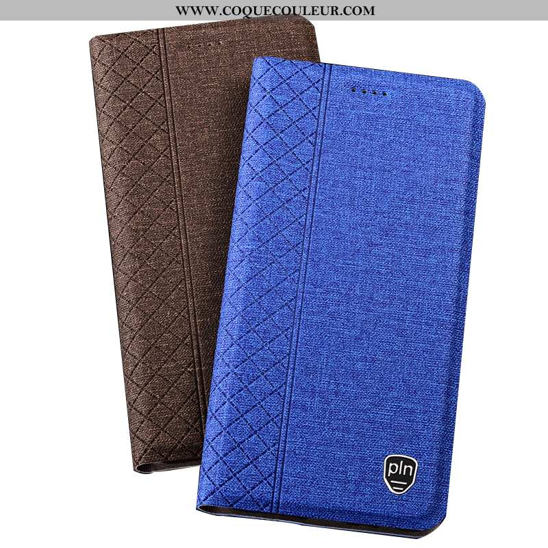 Housse Nokia 5.1 Plus Protection Téléphone Portable Plaid, Étui Nokia 5.1 Plus Lin Bleu