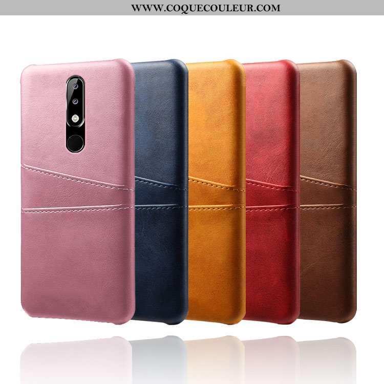 Coque Nokia 5.1 Plus Protection Carte, Housse Nokia 5.1 Plus Cuir Incassable Rose