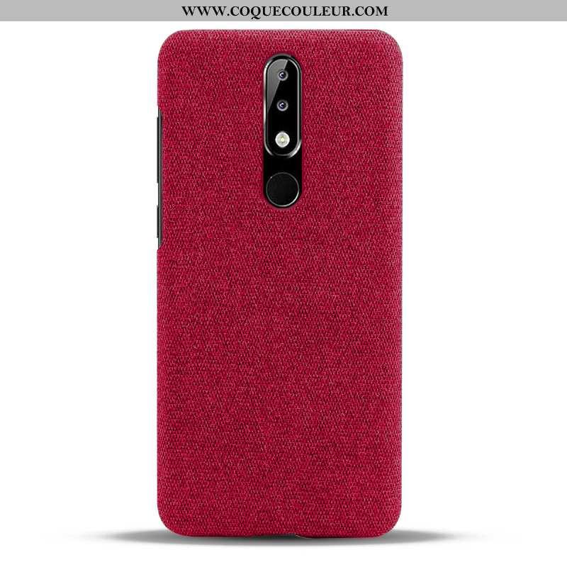 Étui Nokia 5.1 Plus Protection Légères Tissu, Coque Nokia 5.1 Plus Légère Rouge