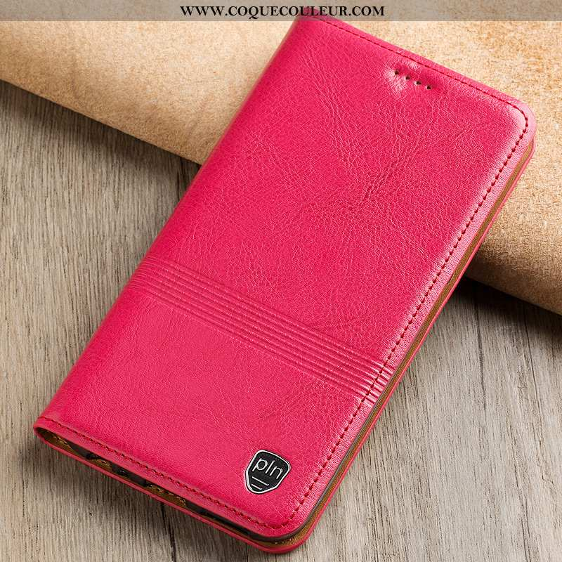 Étui Nokia 5.1 Plus Cuir Véritable Téléphone Portable Étui, Coque Nokia 5.1 Plus Cuir Rouge Rose