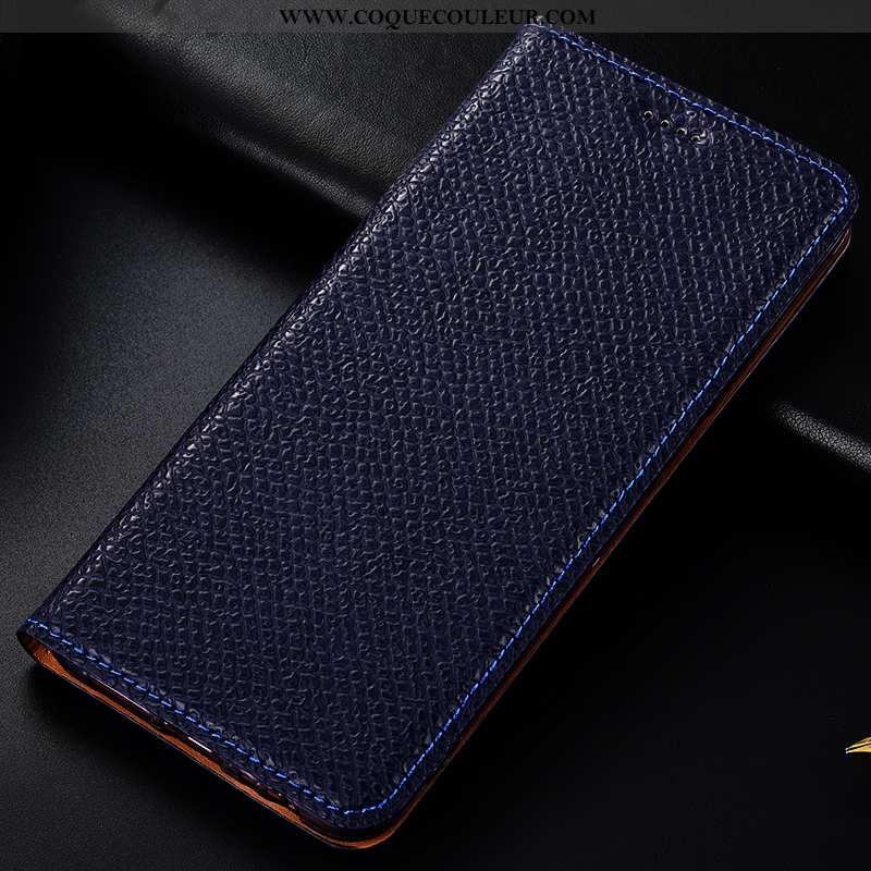 Housse Nokia 5.1 Plus Cuir Véritable Téléphone Portable Bleu Marin, Étui Nokia 5.1 Plus Modèle Fleur
