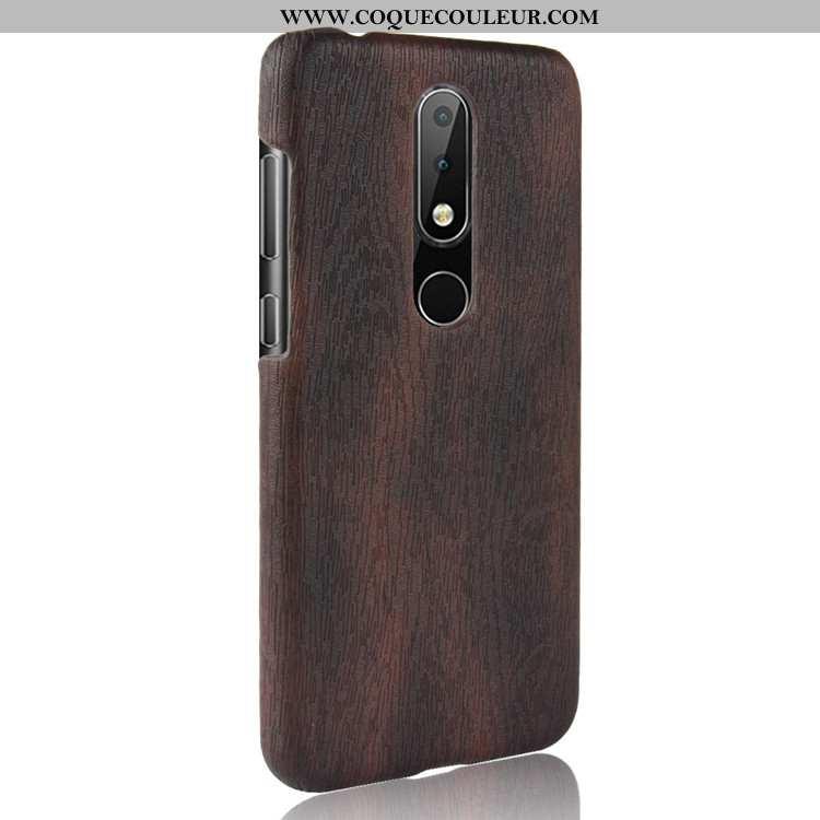 Housse Nokia 5.1 Plus En Bois Couvercle Arrière Étui, Étui Nokia 5.1 Plus Modèle Fleurie Protection