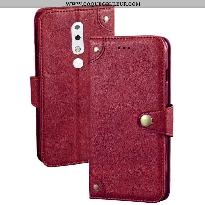 Housse Nokia 5.1 Plus Protection Étui Rouge, Nokia 5.1 Plus Créatif Portefeuille Rouge