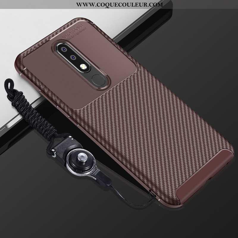 Étui Nokia 5.1 Plus Fluide Doux Téléphone Portable Incassable, Coque Nokia 5.1 Plus Silicone Marron