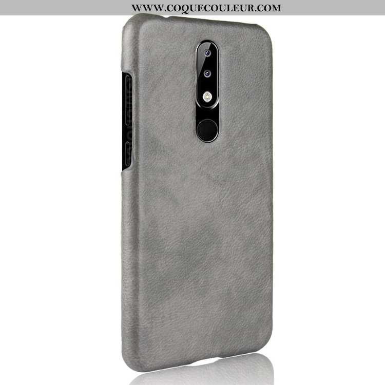 Coque Nokia 5.1 Plus Protection Difficile, Housse Nokia 5.1 Plus Cuir Qualité Gris