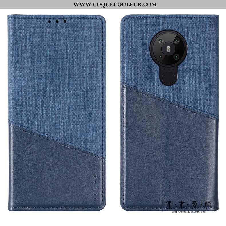 Coque Nokia 5.3 Protection Luxe Coque, Housse Nokia 5.3 Cuir Téléphone Portable Bleu