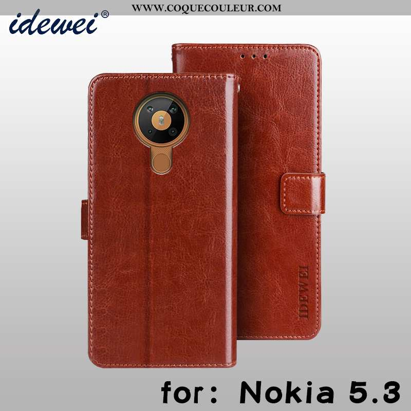 Housse Nokia 5.3 Portefeuille Protection, Étui Nokia 5.3 Cuir Téléphone Portable Marron