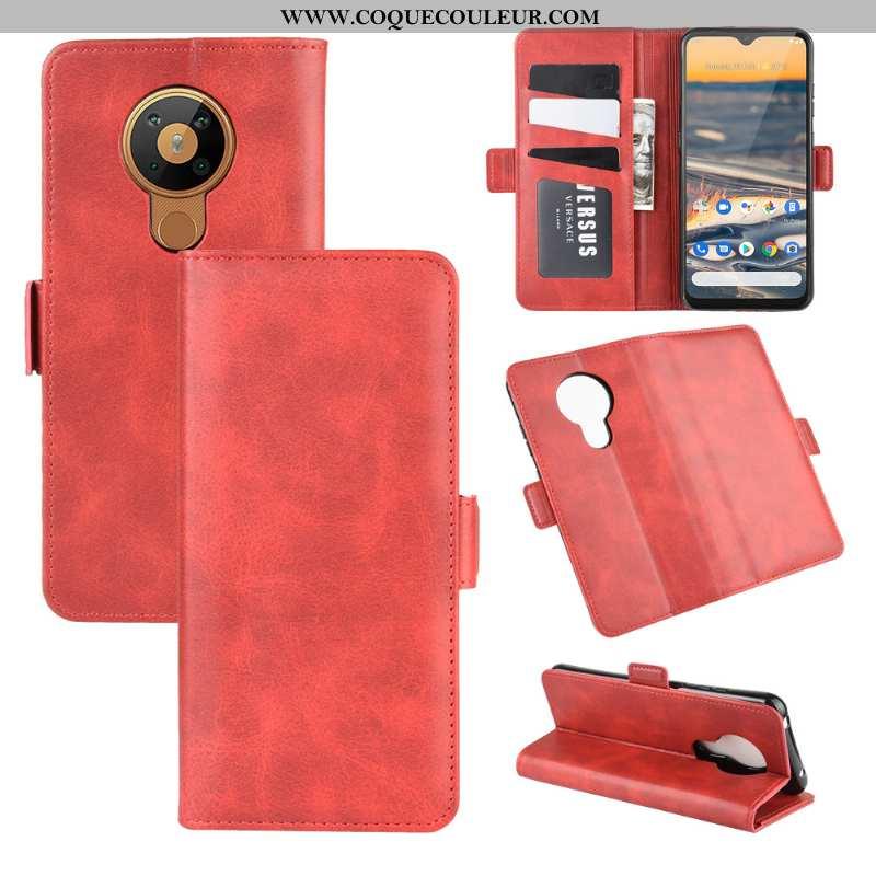 Étui Nokia 5.3 Protection Clamshell, Coque Nokia 5.3 Cuir Une Agrafe Rouge