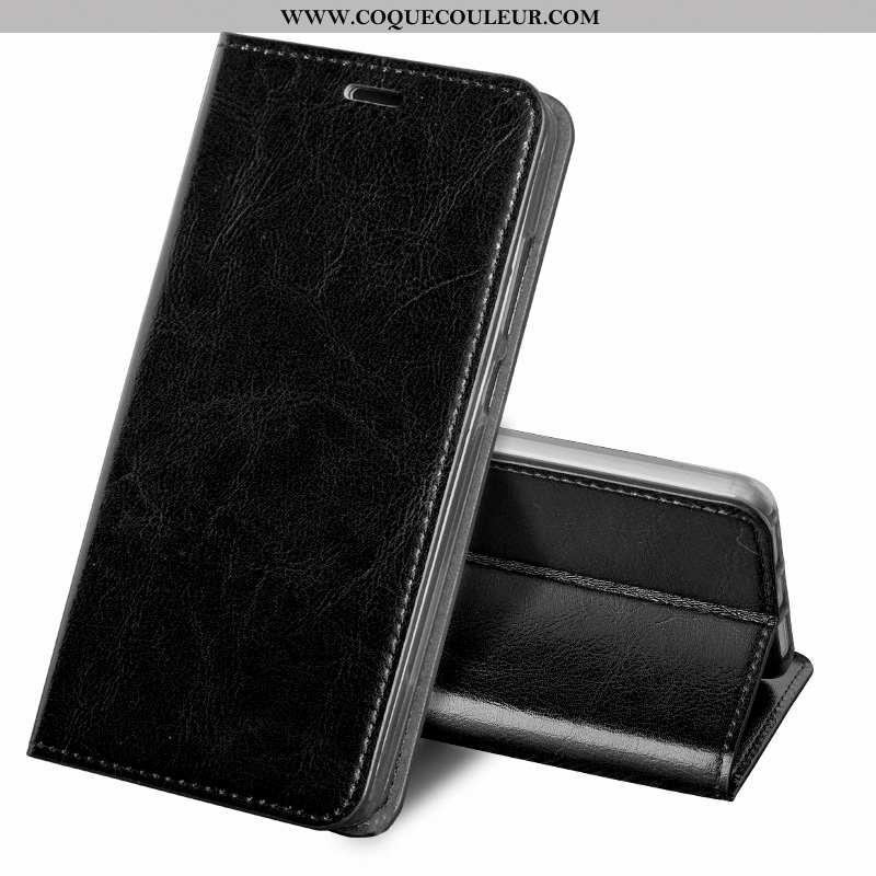Housse Nokia 6.1 Protection Fluide Doux Téléphone Portable, Étui Nokia 6.1 Cuir Véritable Noir
