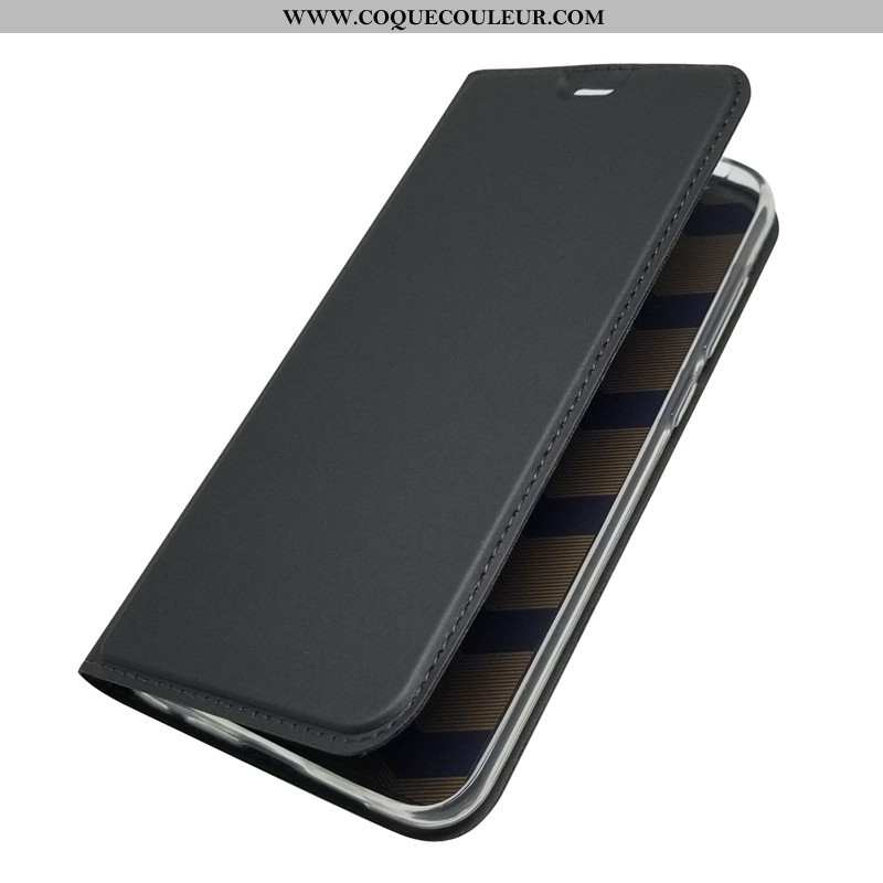 Étui Nokia 6.1 Silicone Noir, Coque Nokia 6.1 Protection Cuir Noir