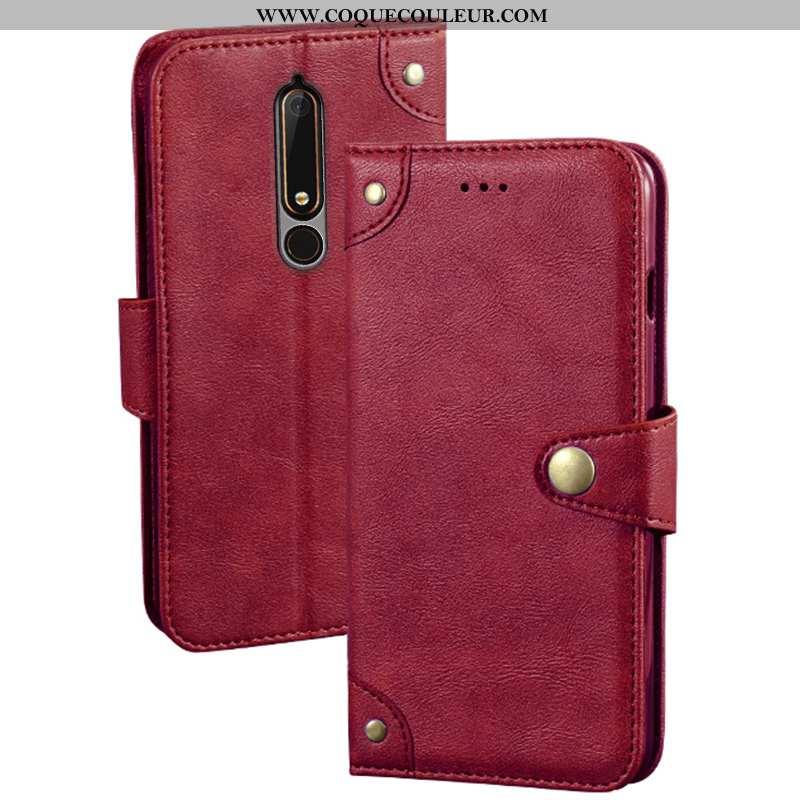 Étui Nokia 6.1 Protection Portefeuille Support, Coque Nokia 6.1 Créatif Rouge