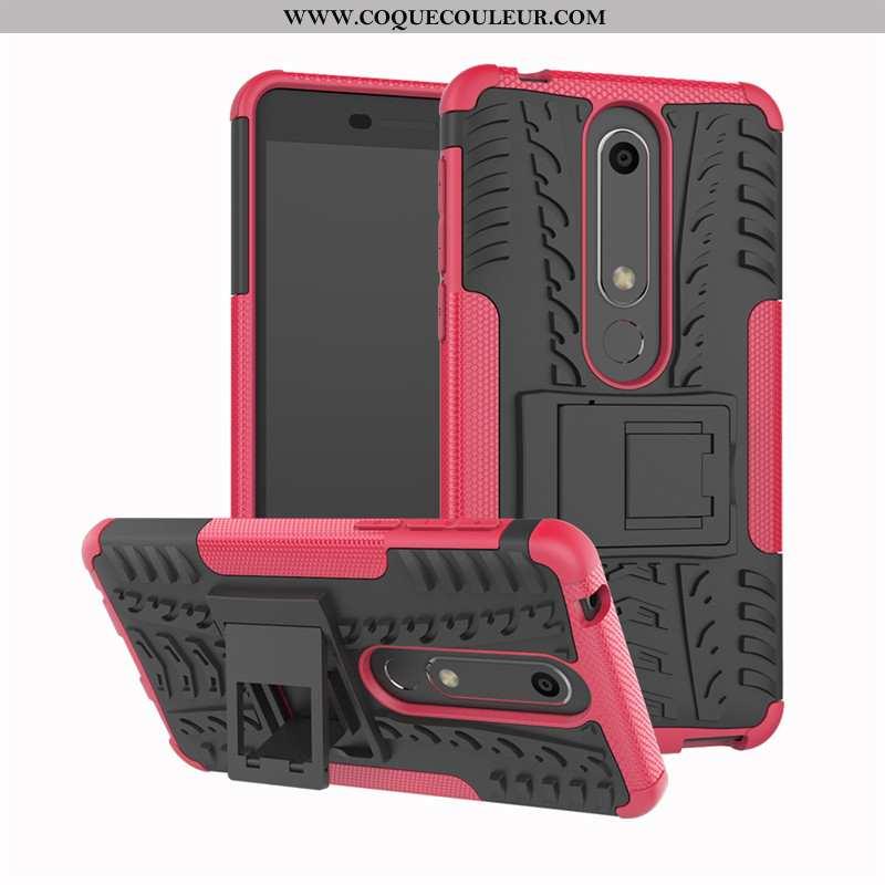 Étui Nokia 6.1 Modèle Fleurie Coque Incassable, Nokia 6.1 Silicone Protection Rose