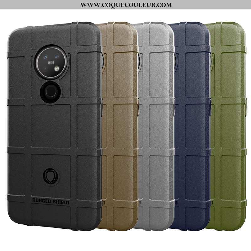 Étui Nokia 6.2 Silicone Trois Défenses Étui, Coque Nokia 6.2 Protection Antidérapant Noir
