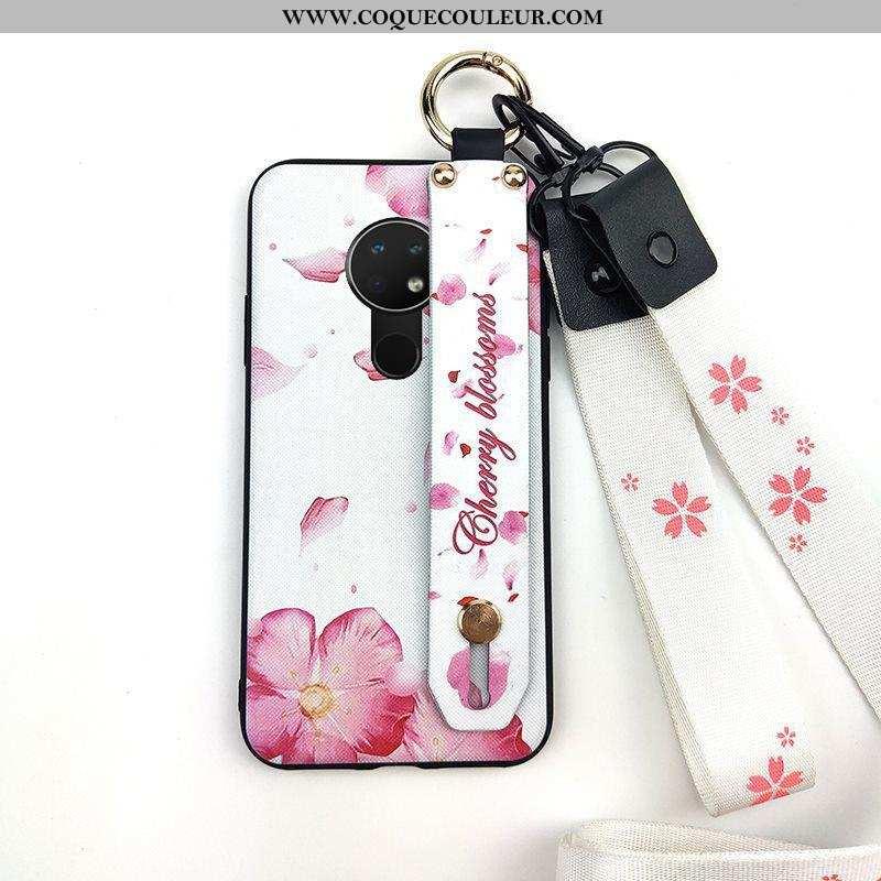 Coque Nokia 6.2 Ornements Suspendus Protection Fleur, Housse Nokia 6.2 Créatif Support Rose
