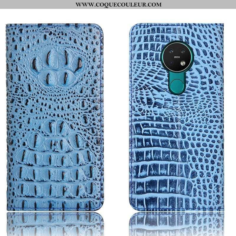 Housse Nokia 6.2 Protection Incassable Bleu, Étui Nokia 6.2 Cuir Véritable Bleu