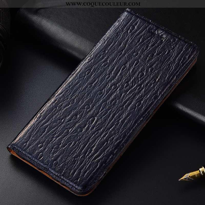 Housse Nokia 6.2 Cuir Véritable Oiseau, Étui Nokia 6.2 Protection Téléphone Portable Bleu