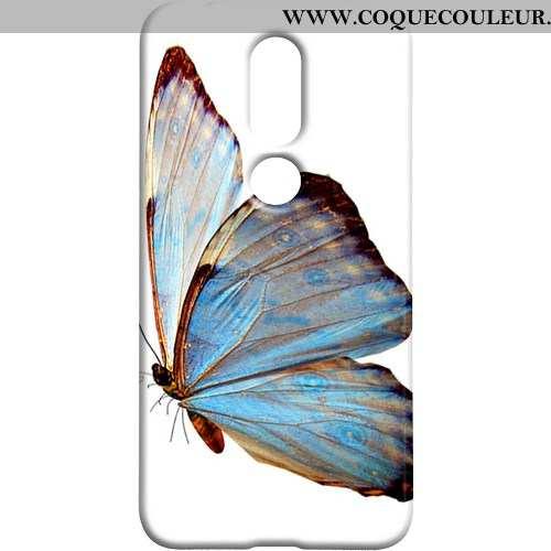 Coque Nokia 7.1 Délavé En Daim Téléphone Portable Frais, Housse Nokia 7.1 Protection Papillon Bleu
