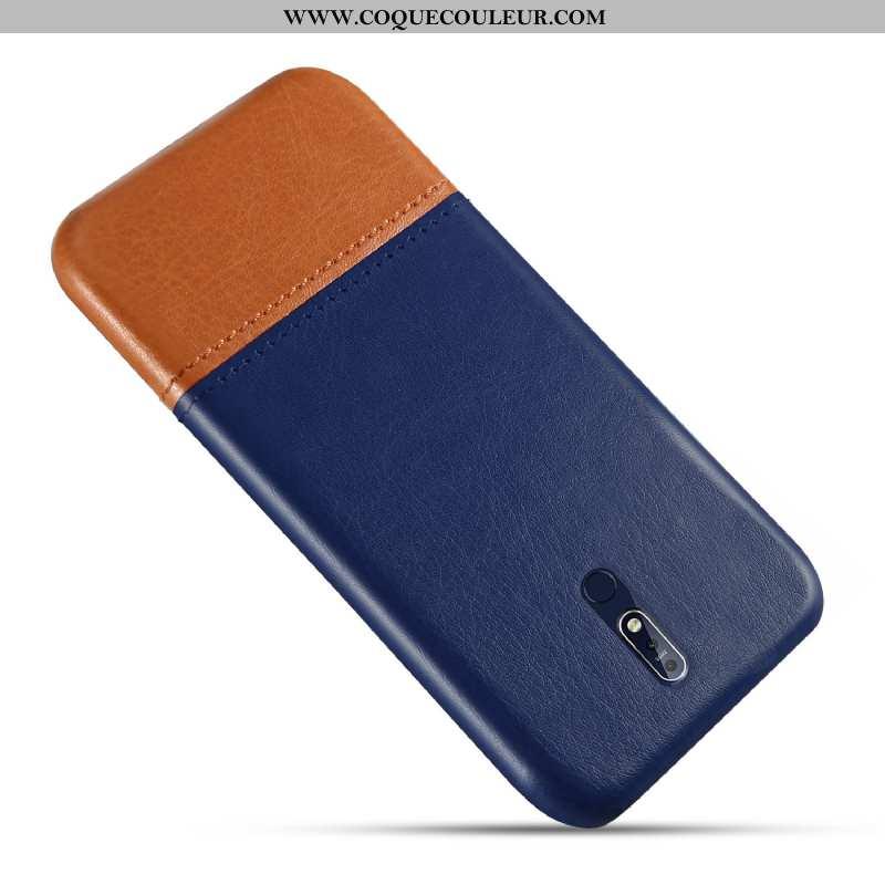 Housse Nokia 7.1 Personnalité Bleu Étui, Étui Nokia 7.1 Cuir Protection