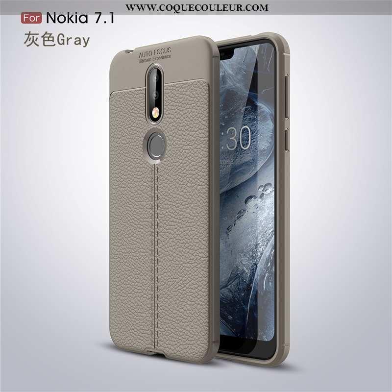 Étui Nokia 7.1 Mode Fluide Doux Téléphone Portable, Coque Nokia 7.1 Protection Tendance Gris