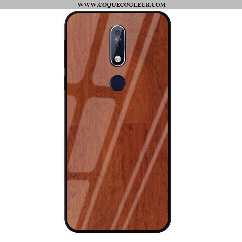 Housse Nokia 7.1 Verre Marron Business, Étui Nokia 7.1 Créatif Coque