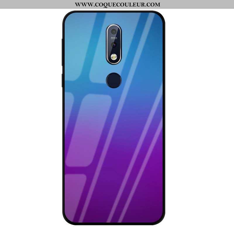 Coque Nokia 7.1 Protection Violet, Housse Nokia 7.1 Verre Téléphone Portable Violet