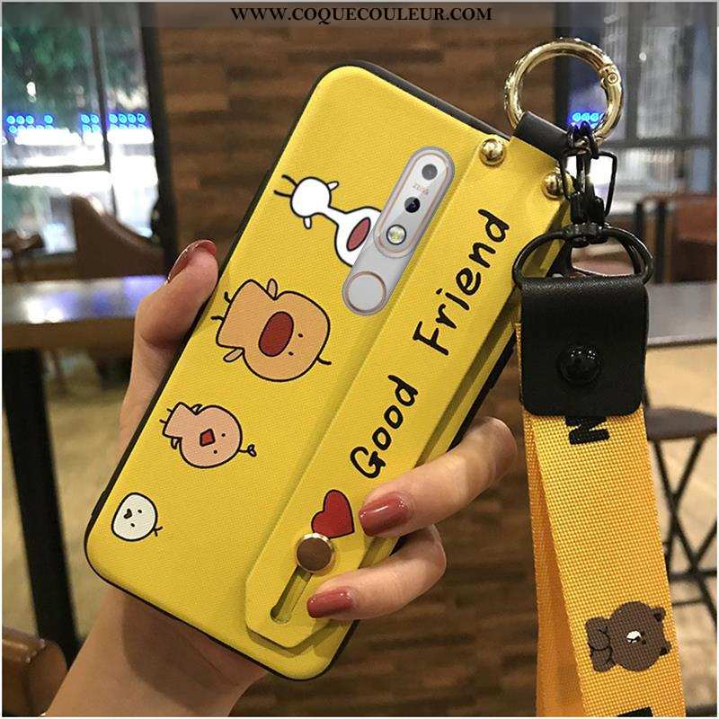 Coque Nokia 7.1 Fluide Doux Créatif Dessin Animé, Housse Nokia 7.1 Protection Charmant Jaune