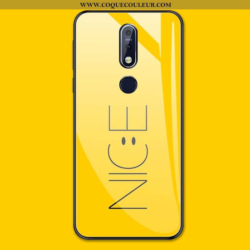 Étui Nokia 7.1 Protection Coque Étui, Nokia 7.1 Verre Tout Compris Jaune
