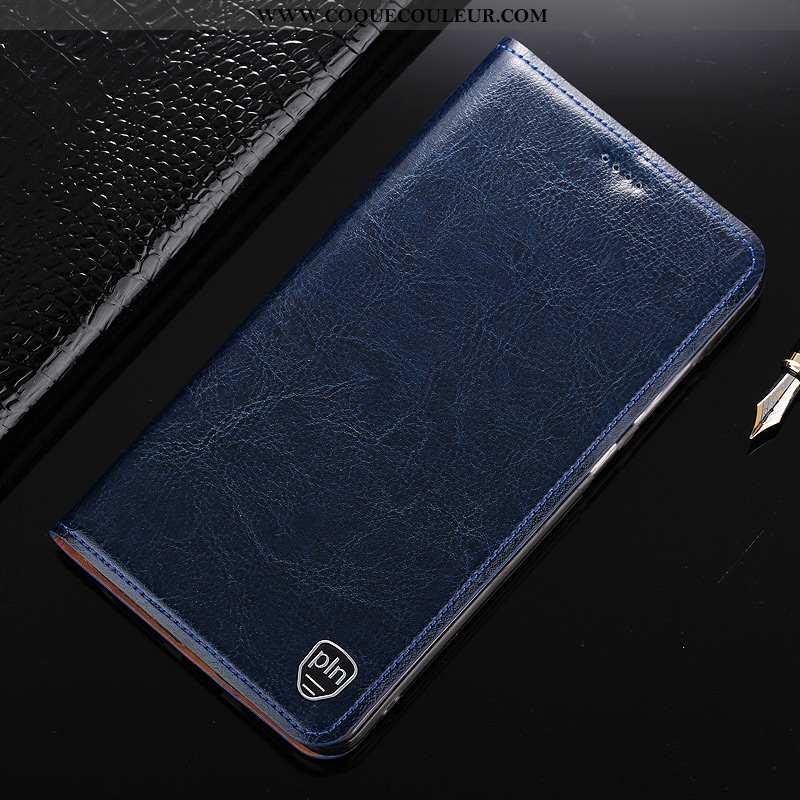 Étui Nokia 7.1 Cuir Véritable Coque Téléphone Portable, Nokia 7.1 Modèle Fleurie Bleu Foncé