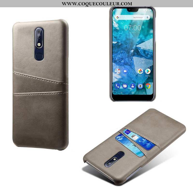 Coque Nokia 7.1 Cuir Qualité Business, Housse Nokia 7.1 Protection Personnalité Gris