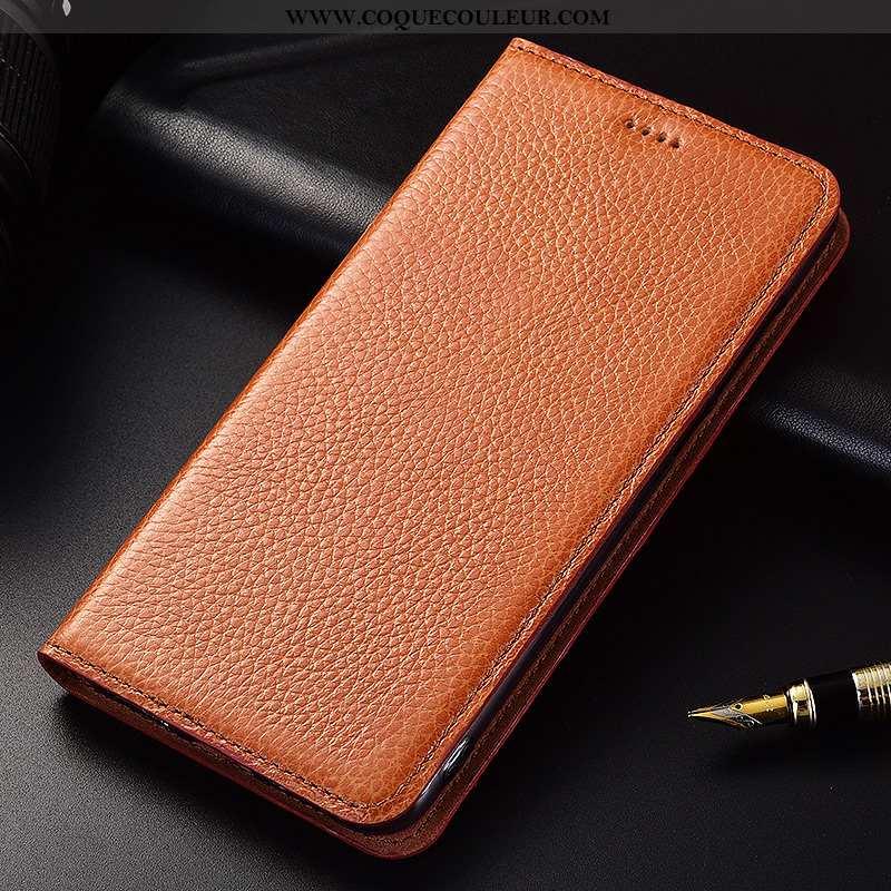 Housse Nokia 7.1 Silicone Fluide Doux Clamshell, Étui Nokia 7.1 Protection Cuir Marron