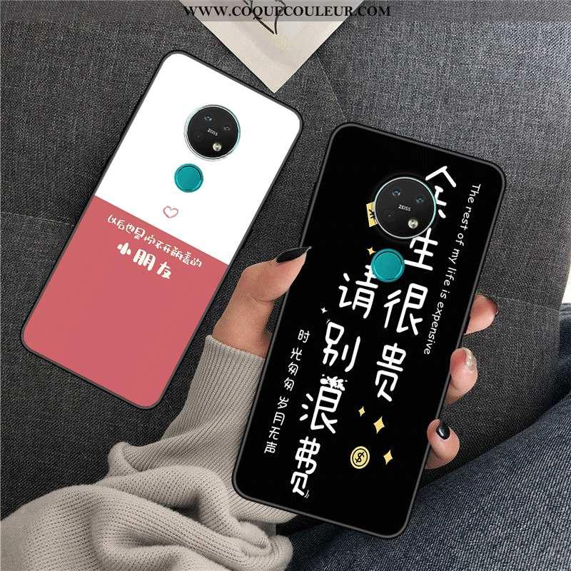 Étui Nokia 7.2 Créatif Téléphone Portable Amoureux, Coque Nokia 7.2 Tendance Silicone Noir