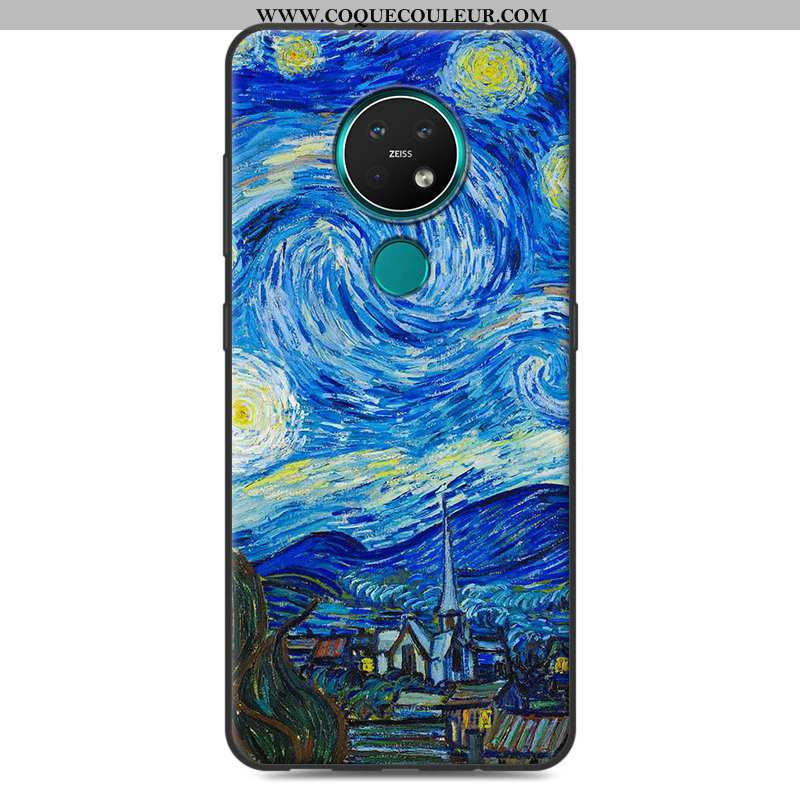 Housse Nokia 7.2 Silicone Téléphone Portable Créatif, Étui Nokia 7.2 Protection Paysage Bleu